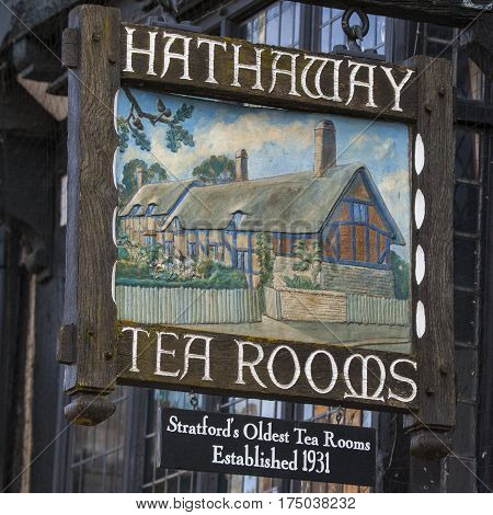 STRATFORD-UPON-AVON UK - MARCH 2ND 2017: The sign above the Hathaway Tea Rooms in Stratford-Upon-Avon on 2nd March 2017. The oldest Tea Rooms in the town.