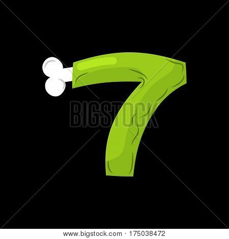 Number 7 Zombie. Monster Font Seven. Bones And Brains Alphabet Sign. Green Abc Symbol