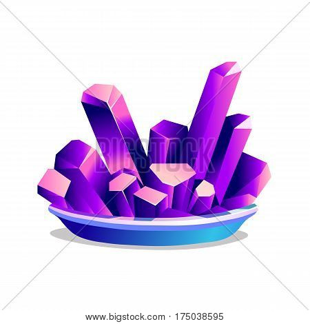 Purple crystals of chromium-potassium alum on white background