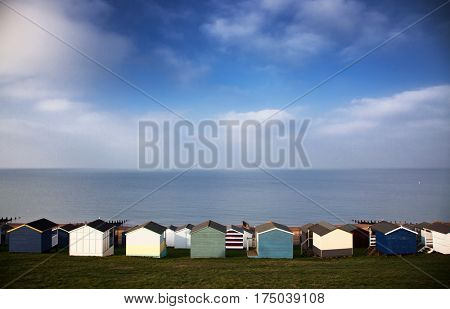 colored beach huts on the beach of Tankerton near Whitstable in Kent, UK