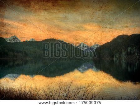 The lake near Neuschwanstein Castle (not Swan Lake) in the Bavaria region of Germany.