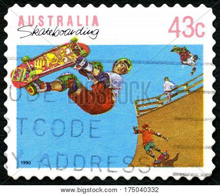 AUSTRALIA - CIRCA 1990: A used postage stamp from Australia celebrating the leisure activity of Skateboarding circa 1990.