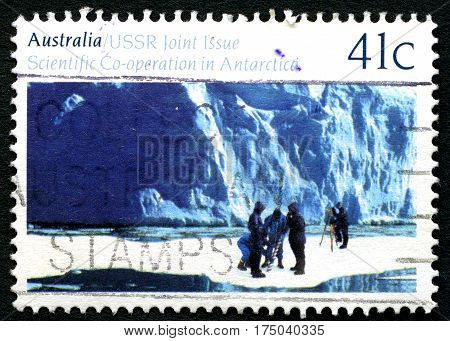 AUSTRALIA - CIRCA 1990: A used postage stamp from Australia commemorating Australia and USSRs scientific co-operation in Antarctica circa 1990.