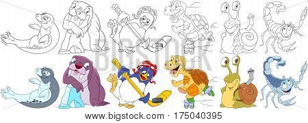 Cartoon animals set. Sea lion (seal or sea calf) walrus penguin hockey player turtle roller skating snail with shell as a backpack scorpio. Coloring book pages for kids.