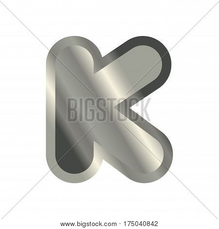 Letter K Steel Font. Metal Alphabet Sign. Iron Abc Symbol. Chromium Lettering. Silver Typography