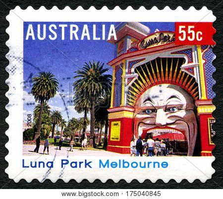 AUSTRALIA - CIRCA 2008: A used postage stamp from Australia depicting an image of Luna Park in Melbourne circa 2008.