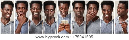 Black man face expression set