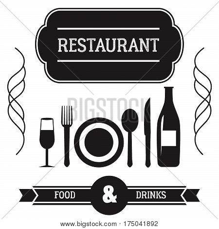 Fork spoon knife utensils silhouette restaurant wine bottle tableware accessory. Black equipment icon set.