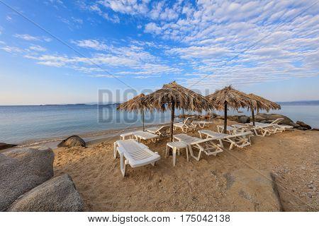 sunrise on the beach near Ouranoupolis city. Halkidiki Greece