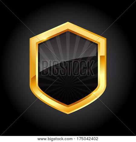 Shiny golden black shield with ribbon on black background vector illustration