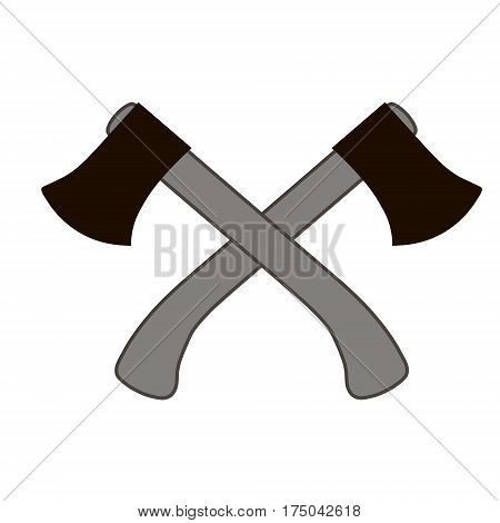 two crossed ax with a white background