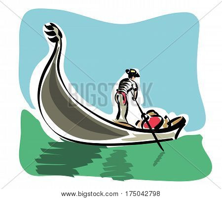 vector illustration of the characteristic boat of the city of Venice, the famous Venetian Gondola