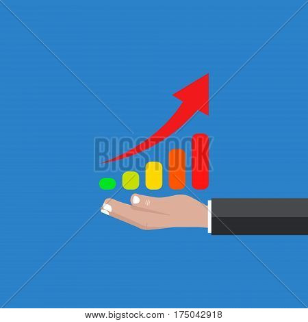 Hand holds a table rated a new vector illustration background