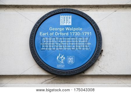 NORWICH UK - JANUARY 17TH 2017: A blue plaque detailing the history of George Walpole Earl of Orford taken in Norwich on 17th January 2017.
