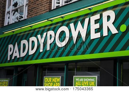 NORWICH UK - JANUARY 17TH 2017: The shopfront of a Paddy Power betting shop in Norwich city centre on 17th January 2017.