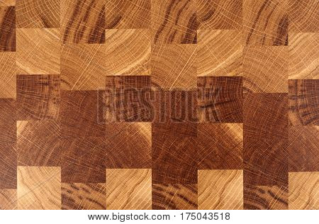 Wooden cutting board, cross cut chess board-like texture