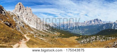 Panoramic view of dolomiti around Cortina d Ampezzo and Dolomites mountains Italy Cima Ambrizzola and Croda da Lago with pathway Alps Dolomites mountains Italy