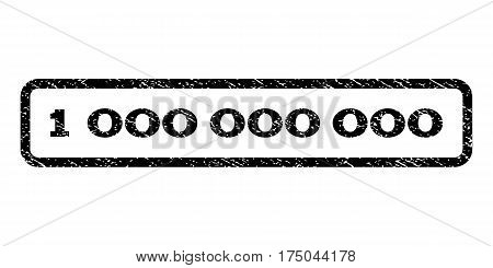 1 000 watermark stamp. Text caption inside rounded rectangle frame with grunge design style. Rubber seal stamp with dust texture. Vector black ink imprint on a white background.