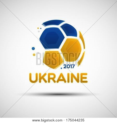 Football championship banner. Flag of Ukraine. Vector illustration of abstract soccer ball with Ukrainian national flag colors for your design