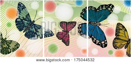 Painting with butterflies.A set of several pictures.Bottles on an abstract background.