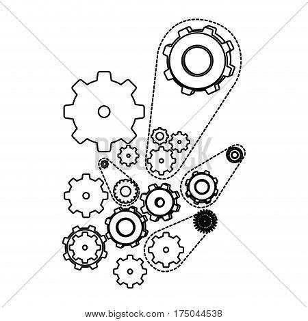 white figure giars icon, vector illustraction design image