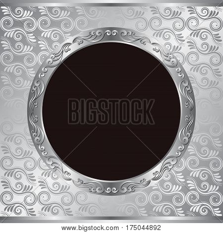 silver background with old-fashioned frame - vector illustration