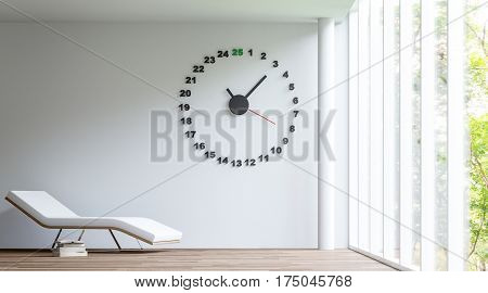 Relaxing in a white room 3D Rendering Image layout with white daybed have a book placed next to a casual look. The rooms have large windows looking out to experience nature up close.