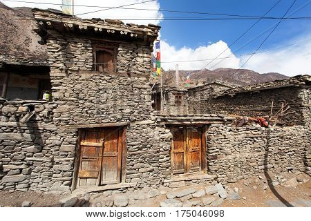 View of local stony building in Manang village one of the best villages in round Annapurna circuit trekking trail route Nepal