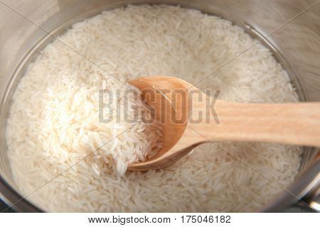 Rice in saucepan, closeup