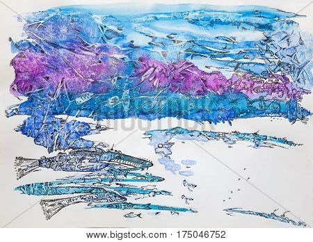Monotyped watercolor painting with a gel pen. Associative image of the North mountains fish snow