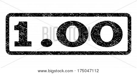 1.00 watermark stamp. Text tag inside rounded rectangle with grunge design style. Rubber seal stamp with unclean texture. Vector black ink imprint on a white background.