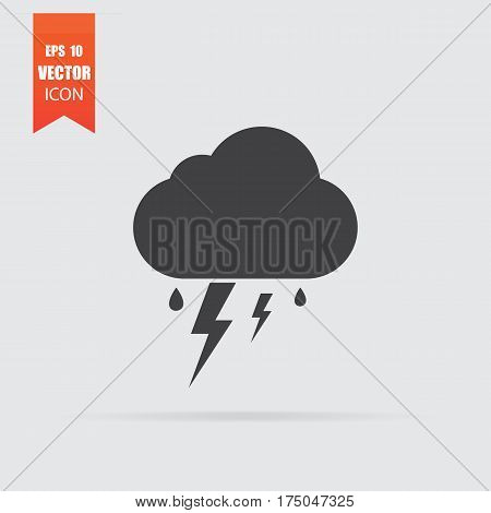 Storm Icon In Flat Style Isolated On Grey Background.