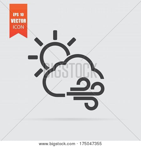 Cloud,sun And Wind Icon In Flat Style Isolated On Grey Background.