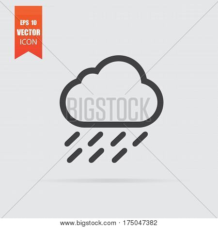 Cloud Rain Icon In Flat Style Isolated On Grey Background.