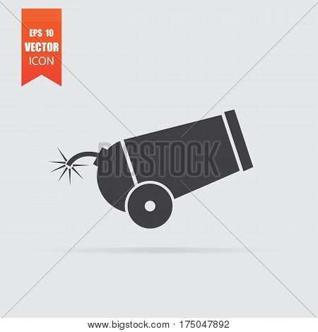 Cannon Icon In Flat Style Isolated On Grey Background.