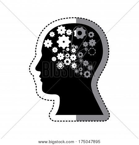 black contour human with white gear icon, vector illustraction design