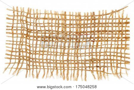 Closeup of brown natural sackcloth texture isolated on white background