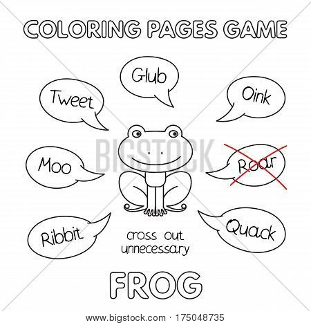 Funny frog kids learning game. Vector coloring book pages for children