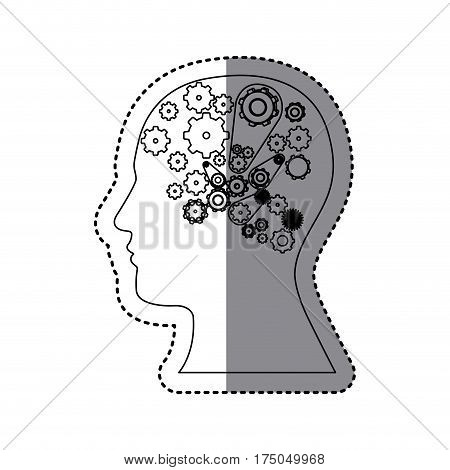 contour human with white gear icon, vector illustraction design