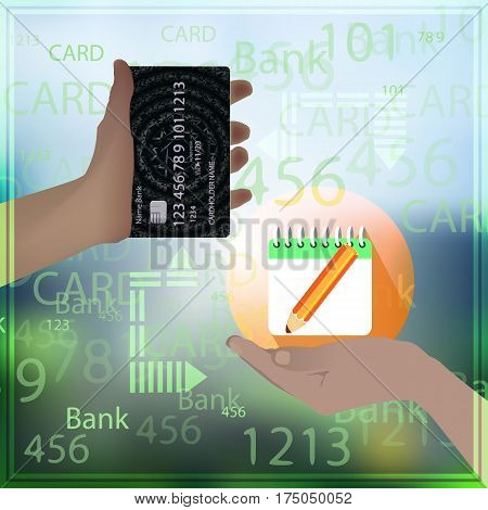 paid education. Concept to buy a report. Hand holding credit card realistic with abstract geometric design, isolated on photo background. Vector illustration for your design.