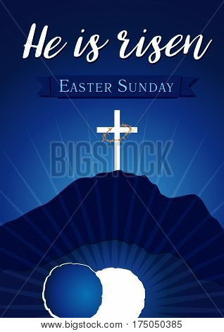 Easter christian motive, vector invitation to an Easter Sunday service with text He is risen on a background of rolled away from the tomb stone of Calvary. Easter sunday holy week calvary tomb banner