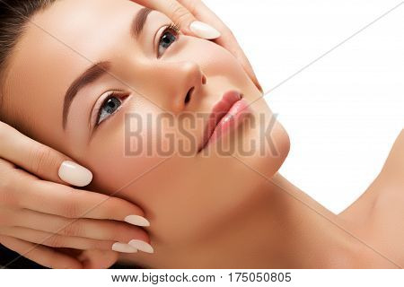 Daily Makeup. Beautiful Face Of A Young Caucasian Woman. Woman Beauty Face Portrait With Healthy Ski