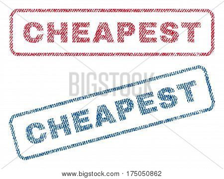 Cheapest text textile seal stamp watermarks. Blue red fabric vectorized texture. Vector tag inside rounded rectangular shape. Rubber sign with fiber textile structure.