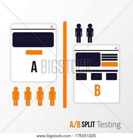 A, B split testing. Two sites view with different information blocks
