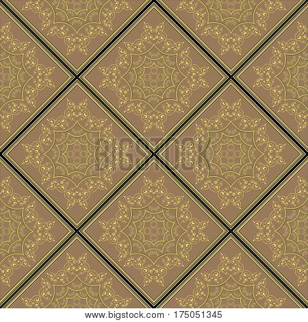 Vector abstract Repeating Gold pattern on a bronze background