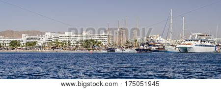 Central public beach and marina in Eilat - famous resort cand tourist city in Israel