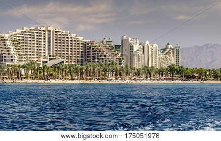 Central public beach in Eilat - famous resort city in Israel