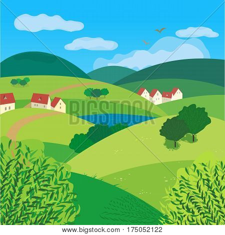 Green landscape. Freehand drawn cartoon outdoors style. Farm houses, country winding road on meadows and fields. Rural community. Lake view among hills. Vector village countryside scene background