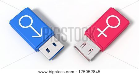 3d illustration of simple usb stick with gender symbols. isolated on white, top view. suitable for love and gender themes.