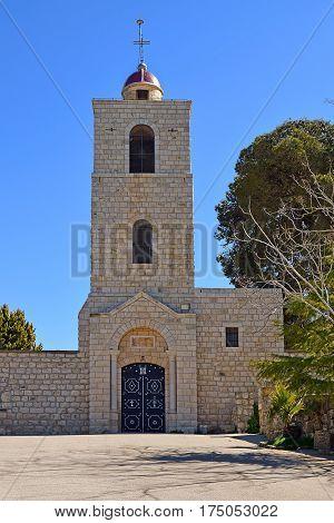 bell tower of the eastern orthodox monastery, Mount Tabor, Lower Galilee, Israel